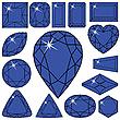 Kollektion von blauen Diamanten