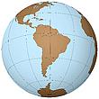 Südamerika auf dem Globus