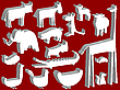Tierfiguren auf rotem Hintergrund