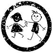 Stempel mit schönen Kinder-Silhouetten