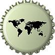 schwarze Weltkarte auf Flaschenverschluss