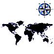 Czarna mapa świata z róży wiatrów | Stock Vector Graphics