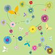 Blumenmuster mit Schmetterlingen