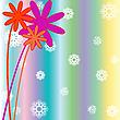 Weihnachten Hintergrund mit Schneeflocken, Blumen und Streifen
