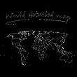 schwarze detaillierte Weltkarte