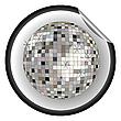 Aufkleber silbere Disco-Kugel