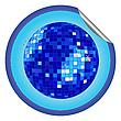 Aufkleber blaue Disco-Kugel