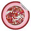 Aufkleber rote Disco-Kugel