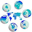 Globusy ziemi i mapa świata | Stock Vector Graphics