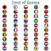 ID 3003737 | Glänzende Icons mit Europa-Flaggen | Stock Vektorgrafik | CLIPARTO