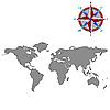 ID 3003857 | Szary mapa świata z róży wiatrów | Klipart wektorowy | KLIPARTO
