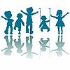 Пять детей, силуэты | Векторный клипарт