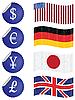 rote Etiketten mit Währungszeichen