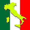 Karte von Italien über der nationalen Farben