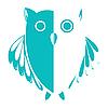 stylized owl blue