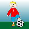 Knabe spillt Fußball