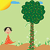 Little girl, flowers and tree | Stock Vector Graphics