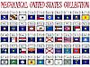mechanische Schilde mit US-Flaggen