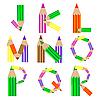 pencils alphabet J-R