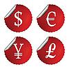 ID 3004905 | Rote Etiketten mit Währungszeichen | Stock Vektorgrafik | CLIPARTO