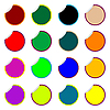 Runde farbige Aufkleber