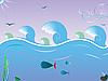 Wellen am Meer und die Fische unter Wasser