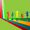 Silhouetten von spielenden Kindern auf grünem Hintergrund