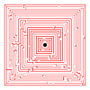 rotes Labyrinth-Quadrat