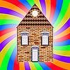 Haus und Regenbogen-Hintergrund