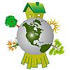 Erdkugel mit Bäumen und Häusern