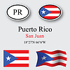 puerto rico icons set