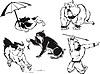 Funny Bulldog Cartoons Set | 向量插图