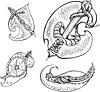 Set von reptilien stilisierte Blätter
