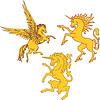 Satz von mythischen heraldischen Einhorn und Pegasus