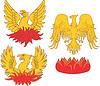 Satz von heraldischen phoenix Vögel