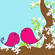 Frühjahr Karte mit Vögel