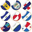 Sammlung von Aufklebern mit Flaggen