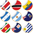 Collection of stickers/labels with flags
