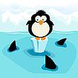 Pinguin und Haie