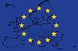 Flagge von UN und EU-Karte