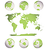 Vector clipart: world map and globes