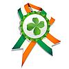 Векторный клипарт: Пивная крышка с листом клевера и флагом