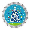Ретро-крышка от бутылки с елкой и снежинками | Векторный клипарт