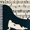 Musikkarte mit Flügel
