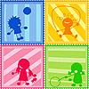 ID 3018498 | Kinder-Silhouetten | Stock Vektorgrafik | CLIPARTO