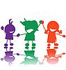 ID 3025424 | Счастливые дети, силуэты | Иллюстрация большого размера | CLIPARTO