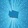 Blaue Landkarte des Bundesstaats Washington