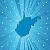 Blaue Landkarte von West Virginia