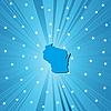 Blaue Landkarte von Wisconsin