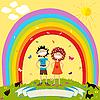 Радуга и дети | Векторный клипарт